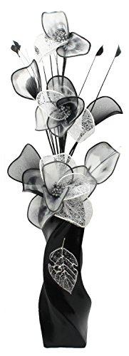 799489 E13 jarrón con diseño de flores de blanco y negro diseño...