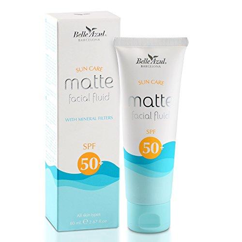 Belle azul crema solare 50 per il viso spf 50+. crema idratante, lenitiva ad effetto opaco, arricchita con vitamina e e c