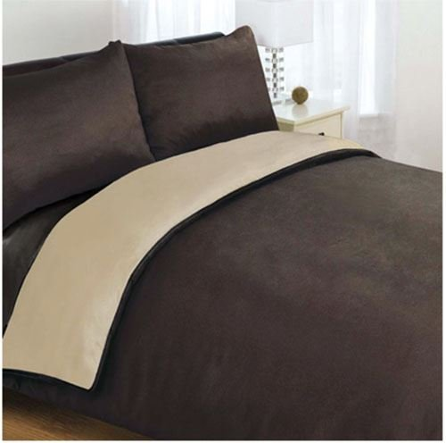 2 Tone Reversible Duvet Cover + Fitted Sheet + Pillowcases Bedding Set, Double Size Chocolate/Cream – Mountain Moose Co.