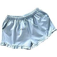 PRETYZOOM Pantalones Cortos Caseros Mujeres Pantalones Cortos de Algodón Casuales Pantalones Cortos de Playa de Verano Pantalones Cortos Sueltos Pantalones Cortos Pijamas para Dama (Talla S Azul)