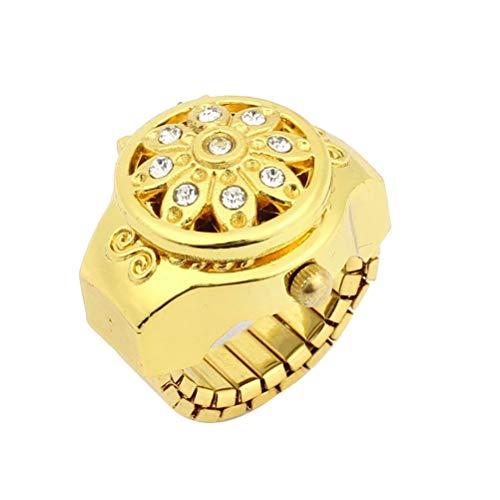 Novelty Fashion Women's Girls Crystal Rhinestones Flower Decor Flip Open Round Case Stretch Elastic Band Mini Quartz Finger Ring Watch (Golden)
