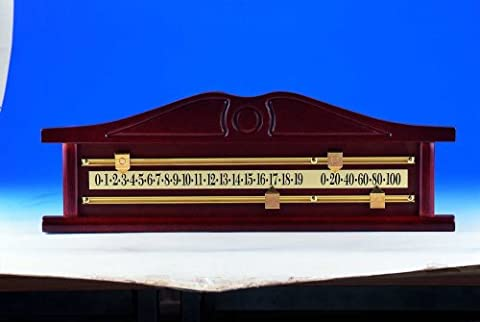 A very nice mahogany finish Ornamental Snooker Scoreboard complete with Solid Brass Scorer/Rails and Pointers,