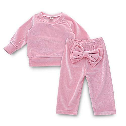 Pochers Kleinkind Kinder Baby MäDchen Solide Baumwolle Langarm Tops Bogen Hosen Kleidung Sets -