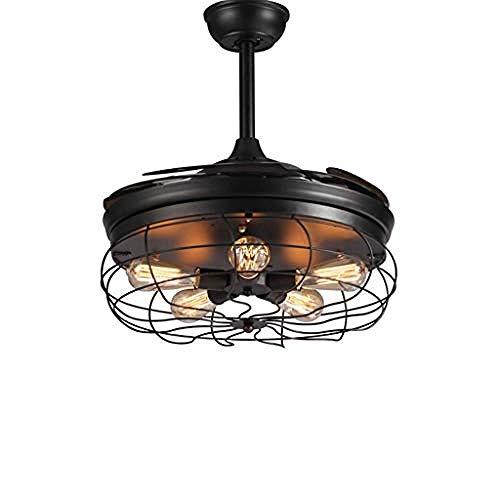 Auraluy®-Licht Kronleuchter LED Deckenventilator Kronleuchter industrielle Fernbedienung + Wandsteuerung Restaurant American Retro Electric Fan Kronleuchter@A -