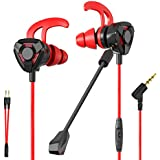 CLAW G9 Gaming Earphones with Dual Microphones, 3D Stereo Sound, Dual Flange Ear-Tips for Mobile Phones, Tablets, PC, Laptop, PS4, Xbox, Nintento Switch (Red)