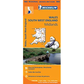 Carte Pays de Galles, Midlands, Angleterre Sud-Ouest Michelin