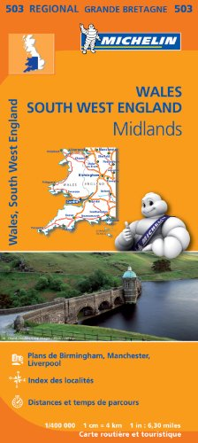 Carte Pays de Galles, Midlands, Angleterre Sud-Ouest Michelin par Collectif MICHELIN
