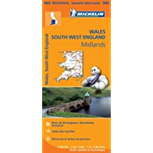 Carte Pays de Galles, Midlands, Angleterre Sud-Ouest Michelin
