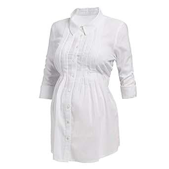 2HEARTS Biesen-Leinen Umstandsbluse Umstandsbluse Schwangerschafts-Bluse, Größe 36, weiß