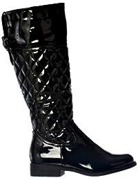 Onlineshoe dames des femmes d'équitation Bottes matelassé noir effet brevet