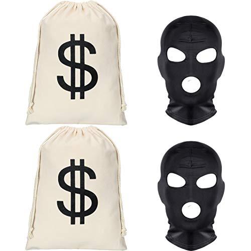 2 Stücke Dollar Zeichen Geldsäcke Canvas Taschen mit 2 Stücke Schwarzen Gesichtsmasken Halloween Kostüm für Halloween Cosplay Party Lieferungen (Größe 2) (Paket Lieferung Kostüm)