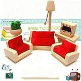 Generi Wooden Doll House Living Room Set...