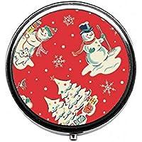 LinJxLee Christmas Snowman Tree Round Pill Case Pill Box Tablet Vitamin Organizer Easy to Carry preisvergleich bei billige-tabletten.eu