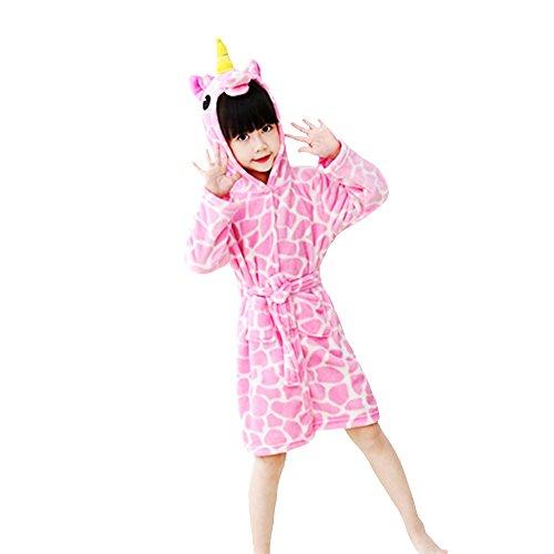 Kinder Bademantel Cartoon Tier Kapuzen Pyjamas Robe Einhorn Frottee Cosplay Kostüme Tiere Kleid Unisex (Rosa Stein, 130 (120-130 cm)) (Stein Cosplay Kostüm)