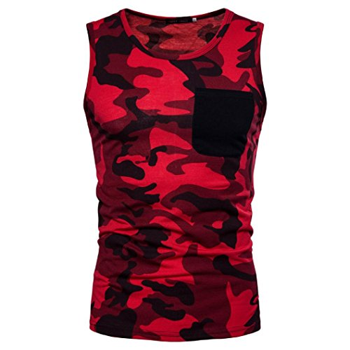MEIbax CLEARANCE Männer Casual Camouflage Print O Neck Sleeveless T-shirt Top Weste Bluse (rot, L)