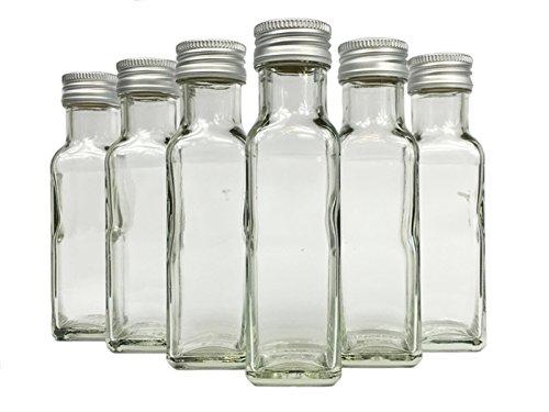 Glasflaschen Set mit Schraubverschluss Silber | 100 teilig | Füllmenge 100 ml | Maras Saftflaschen Spirituosen Likörflaschen Setzen Sie ganz einfach Ihr eigenes Öl (Machen Sie Ihr Eigenes Bier)
