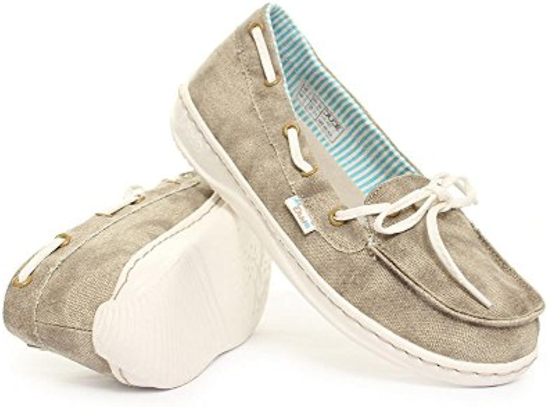 Dude Shoes - Náuticos de tela para mujer Beige beige