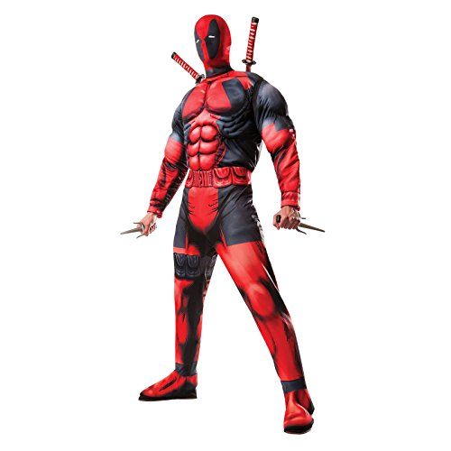 Herren Offiziell Marvel Deadpool Superheld Halloween Comic Kostüm Kleid Outfit STD XL - Herren, Rot, XL