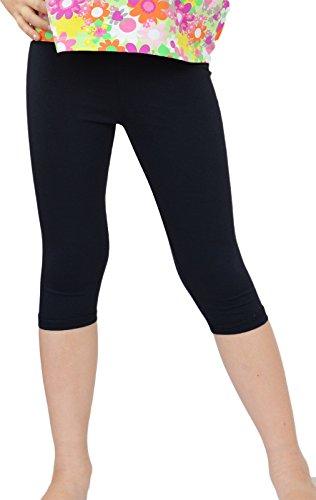 Kinder / Mädchen 3/4 kurz Leggings aus Baumwolle (134, Schwarz) -