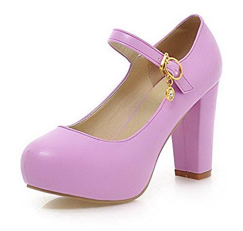 VogueZone009 Femme Rond à Talon Haut Matière Souple Couleur Unie Boucle Chaussures Légeres Violet