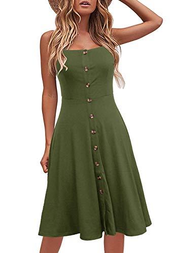 Odosalii Damen Sommerkleid Ärmelloses Maxikleid Verstellbaren Spagettiträgern Strandkleid Knöpfe Vintage Cocktailkleid Kleider (X-Large, Armeegrün)
