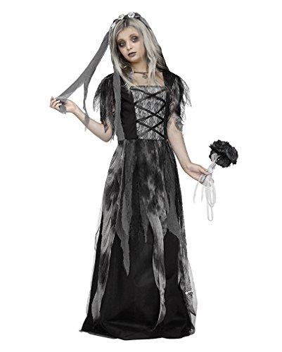 Horror-Shop Friedhofs Gothic Brautkleid Halloween Kinderkostüm mit Schleier M