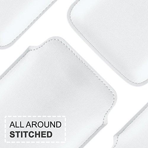 iPhone 5C Hülle Türkis Sleeve [OneFlow Slide Cover] Ultra-Slim Schutzhülle Dünn Handyhülle für iPhone 5C Case Full Body Handytasche Kunst-Leder Tasche PEARL-WHITE
