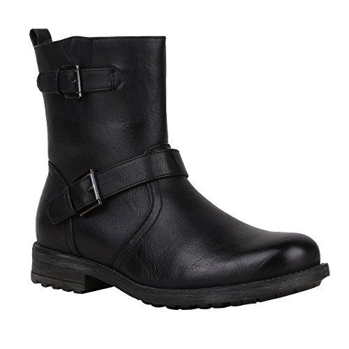 Schwarz Sale Stiefel Herren (Herren Biker Boots Derbe Stiefel Lederoptik Schuhe 57194 Schwarz 41 |)