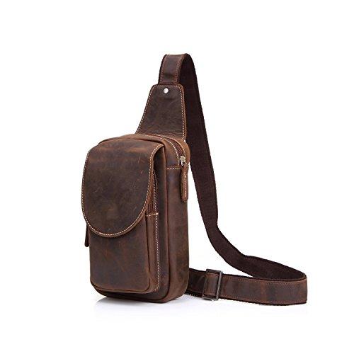 DXL-Men's Bags Vintage Leder Brusttasche Männer Crazy Horse Leder Umhängetasche Sport Freizeit Leder Schultertasche Herrentaschen (Color : Brown, Size : M) Crazy Leder