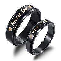 Titanium Steel Forever Love Wedding Gift Black Couple Ring cr10 fe7 ma9