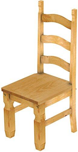 2 x Brasilmöbel Stuhl 'Mexiko', 45 cm Sitzhöhe, Pinie Massivholz, Farbton Honig (Küche Stühle-set Von Zwei)
