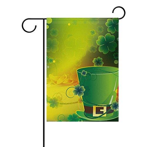 MyDaily Leprechaun-Klee St. Patrick 's Day Deko doppelseitig, Garten-12und 18x 28x 40cm (St Patricks Day Fahne Garten)