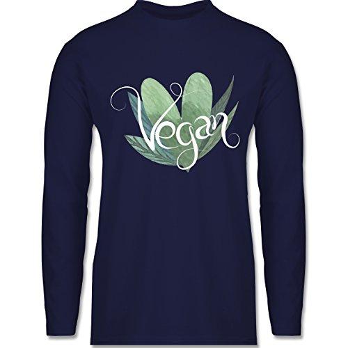 Shirtracer Statement Shirts - Vegan Lettering - Herren Langarmshirt Navy Blau
