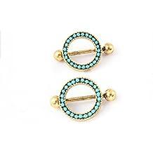 hyidealism pezón anillo de lingotes de oro azul two-layers círculos cuerpo piercing joyas par 14G se vende como par