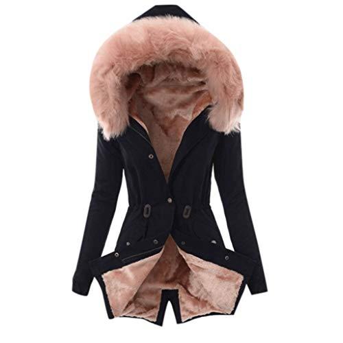AMUSTER Damen Winter Mantel Jacke mit Pelzkapuze Slim Fit Lange Ärmel Jacken Mode Einfarbig Reißverschluss Winterjacke Beiläufig Outwear Große Größe Mantel