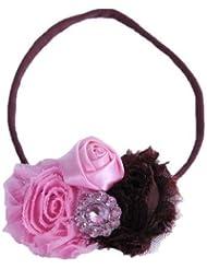 Style Nuvo - Serre Tête Bébé/Fille/Femme Fleur Tulle Satin Rose Diamant