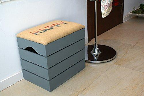 Liza line baule in legno (grigio) di stoccaggio, sgabello, banco, per le scarpe. organizzatore, puff, cesta, raccoglitore per giocattoli stile vintage con seduta morbida. legno nordico solido - 50 x 45 x 36 cm (happy)