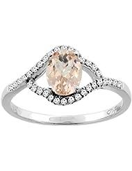 Revoni 14ct oro Natural del anillo de 7 x 5 mm Oval colgantes diamantes