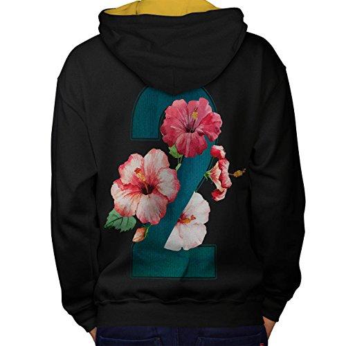 Nummer 2 Rose Kunst Mode Garten Mathe Men M Kontrast Kapuzenpullover Zurück   Wellcoda (Mathe Tag Kostüme)