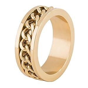 Akitsune Redemptor Ring | Ketten- Design-Ring Frauen Herren Edelstahl Biker – Mattschwarz Gold Silber