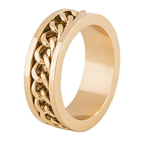 Akitsune Redemptor Ring | Ketten-Design-Ring Frauen Herren Edelstahl Biker - Gold - US 8