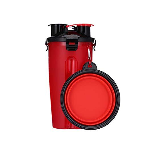 Floridivy Dual-C/ámara Taza de Agua de alimento para Fines Botella de Bebida Snack-port/átil al Aire Libre para Mascotas alimentador de contenedores del Gato del Perro del Plato Copa Taz/ón