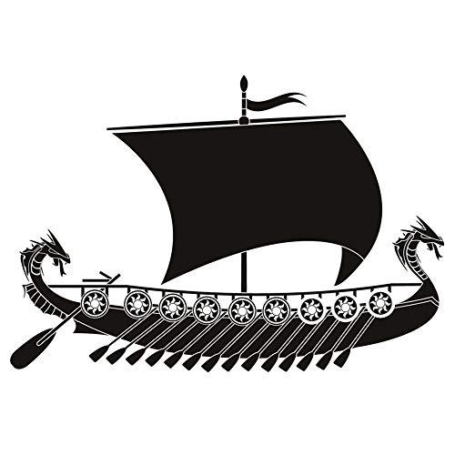 Long Dragon Viking Ship Wandaufkleber Wohnzimmer Wand Dekorative Vinyl Boot Aufkleber Für Sofa Hintergrund schwarz 44x44 cm
