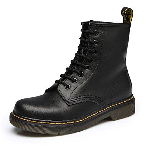 uBeauty Damen Martin Stiefel Flache Boots Klassischer Stiefeletten Schnüren Freizeitschuhe Schwarz 42 EU