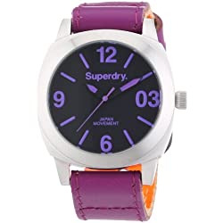 Superdry Women's 39mm Pink Leather Band Steel Case Quartz Black Dial Analog Watch SYL115V