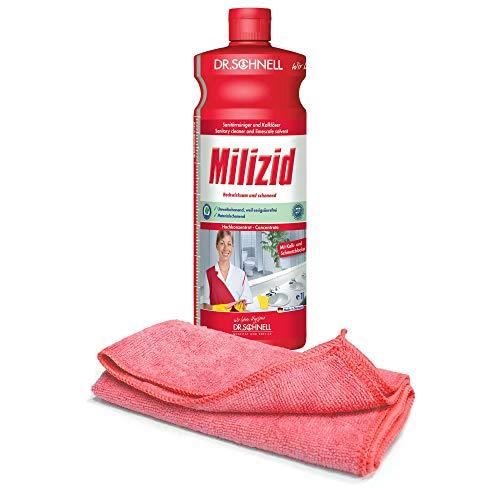 1,0 L Sanitärreiniger - Kalklöser - WC Entkalker - Urinsteinlöser | inkl. hochwertigen Profi-Microfasertuch Rot