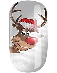 Nagelfolien/Santa Claus Ren selbstklebend mit individuellen Designs by Glamstripes- made in Germany. 12 Nail Wraps äußerst strapazierfähig mit langer Haltedauer