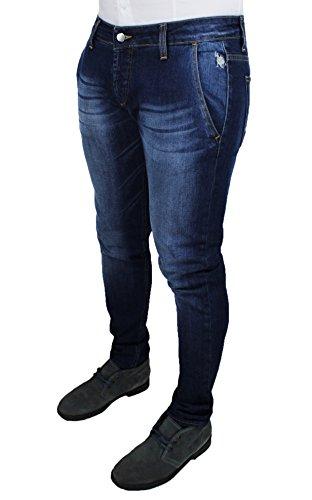Jeans uomo Usa Polo sport pantaloni blu scuro denim casual slim fit 100% cotone (50)