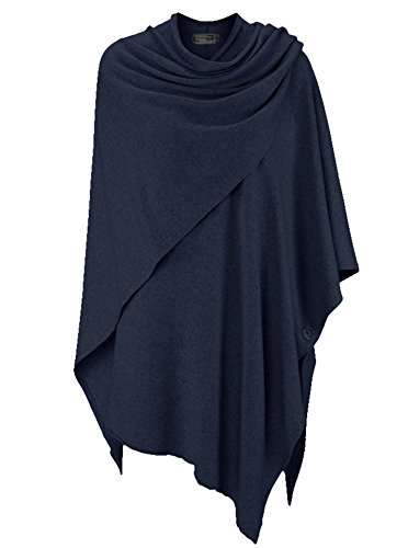 Cashmere Dreams Poncho-Schal mit Kaschmir - Hochwertiges Cape für Damen - XXL Umhängetuch und Tunika mit Ärmel - Strick-Pullover - Sweatshirt - Stola für Sommer und Winter Zwillingsherz - blau