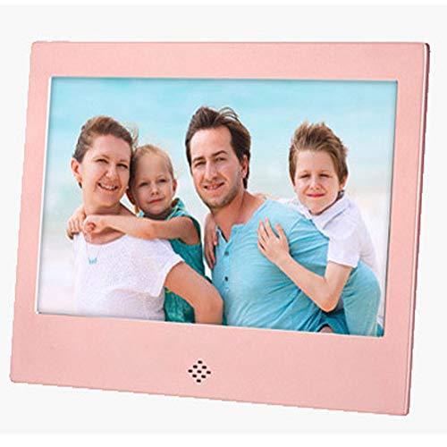 Mhwlai 7-Zoll-Digitalfotorahmen Full-HD-IPS-Display, elektronischer Videoplayer mit 180 ° Betrachtungswinkel, Kalender, Wecker, Fernbedienung, Unterstützung für externen USB- und SD-Karte,Pink